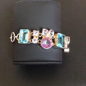 Jewelry - Blue Topaz, Amethyst and Mystic Topaz SS bracelet